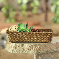 New Design Seagrass Woven Storage Basket Sundries Storage Nordic Seagrass Snacks Cosmetics Magazines Rectangular Woven Basket dans Paniers de stockage de Maison & Jardin sur AliExpress.com | Alibaba Group
