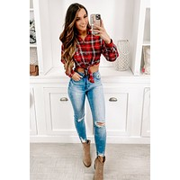 Country Pickin' Cropped Flannel (Red)