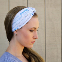 Faith Vintage Headband: Retro Style Band, White Faux Head Wrap for Adults, 100% Cotton Fabric, Faith, Hope, and Love