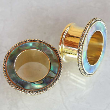 SALES ! Hand made brass tunnel with abalone shell inlayed, code 2  Price is per pair, Please email size needed when do purchase !