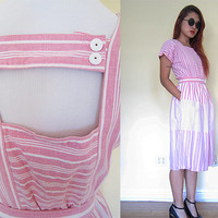 Vintage 50's 60's stripe pink flare skirt dress cutout back white pastel