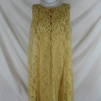 1950s 1960s Gold Lace NWT Dead Stock Sequin Vintage Cocktail Party Holiday Dress W 32