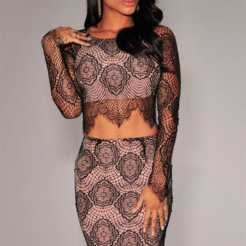 Black Sheer Long Sleeves Lace Skirt Set