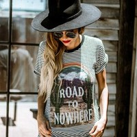 Life Clothing Co Women's Road To Nowhere Striped Graphic Ringer Tee