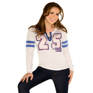 Touch By Alyssa Milano New York Giants Women's Kickoff Lace-Up Long Sleeve T-Shirt - Cream