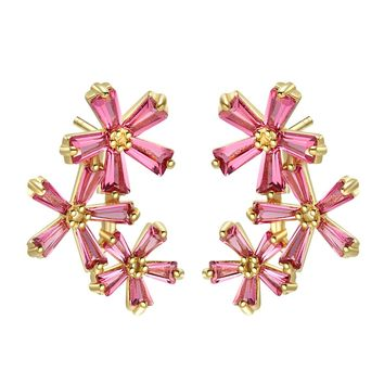 Fancy Beautiful Triple Lucky Magical Flowers Gold-Tone Baguette Royal Pink Crystals Earrings