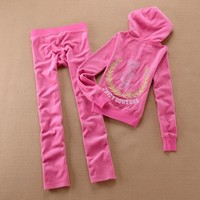 Juicy Couture Crown Logo Velour Tracksuit 6024 2pcs Women Suits Rose