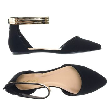 Series19 by Bamboo, Flat Pump w Metallic Ankle Cuff w Back Zipper & Side Cutout D'Orsay