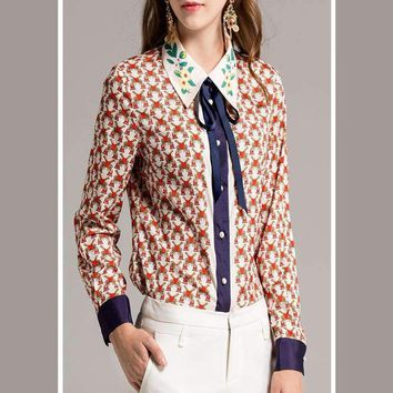 B Unique Print Bow Print Turn-Down Collar Runway Popular Cotton Buttons Winter All-Match Dedicate Shirt
