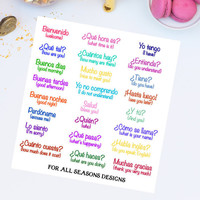 Learn Spanish Planner Stickers, Spanish Translation Planner Stickers, Fits Erin Condren Planner