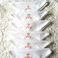 Set of 6 - Vintage Cottage Style/Tea Party Cotton Linen Napkins/Shabby Chic/Garden Tea Party
