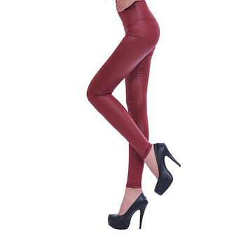 MYPF 2017 Stretch Sexy Women High Waisted Faux Leather Look Tight Shiny Pants