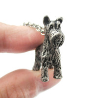 Realistic Schnauzer Puppy Dog Shaped Animal Pendant Necklace in Silver | Jewelry for Dog Lovers