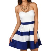 Strapless Color Block Dress