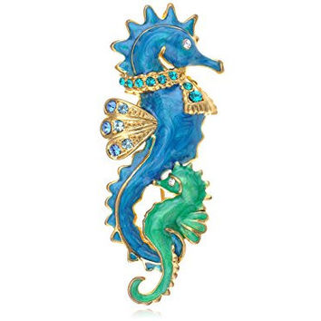 Seahorse Queen Creature Baby Set Family Blue Green Enamel Body Jewel Pin Brooch