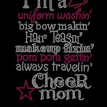 If cheerleading was easy iron on rhinestone hot fix transfer DIY cheer leader t shirts shirts tees custom design
