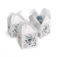 Hortense B. Hewitt Wedding Accessories 2-Inch Die Cut Decorative Favor Boxes, 25 Count, White