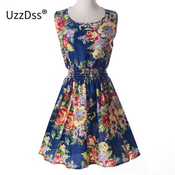 2017 Spring Summer Women's European Style Fashion Sexy Slim Mini Vest Dress with Flower Print S-XXL for Party Summer Dress