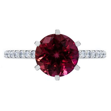 Round Ruby 6 Prongs Diamond Accent Ice Cathedral Solitaire Ring