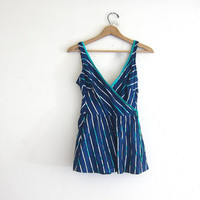 20% OFF SALE vintage blue and green striped one piece swimsuit. women's swimwear with skirt bottom