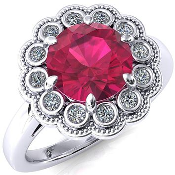 Zinnia Round Ruby 6 Prong Milgrain Diamond Halo Cathedral Engagement Ring
