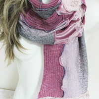 Pink scarf, Pink gray wool scarf, Pink lace scarf, Pink gray scarf, Pink lady scarf, Pink velvet lace scarf, Pink mohair scarf, Women scarf