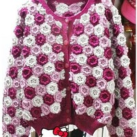 Hand crochet purple pink flower sweater women pullover make to order