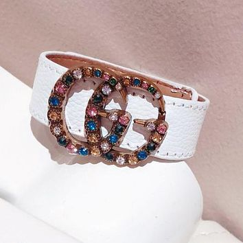GUCCI Fashion Women Personality Colorful Diamond Double G Leather Stainless Steel Hand Catenary Bracelet White I-KMG-NPSL