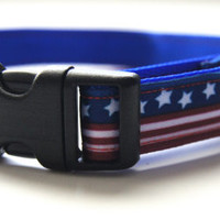 Stars and Stripes Dog Collar Adjustable Sizes (XS, S, M)