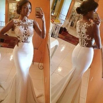 HOT SEXY ELEGANT LONG WEDDING LACE DRESS