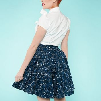 Circle Skirt in Constellations Print