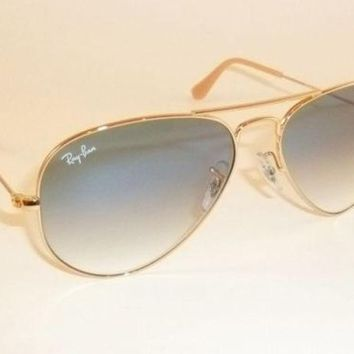 New RAY BAN Aviator Sunglasses Gold Frame RB 3025 001/3F Gradient Blue 62mm