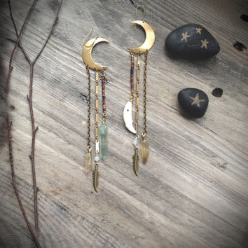 Crescent moon,Raw crystal, Crescent earrings, Moon,Brass, Blue crystal, Lemon quartz, Coyote teeth, Bone jewelry, Link chain,Boho,Tribal