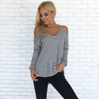 Cuddle Up Sweater Top in Grey