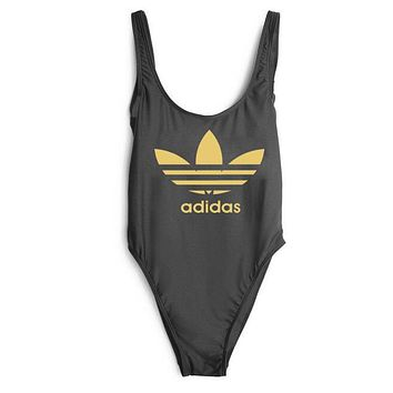 ADIDAS 2018 New Sexy Women's Beautiful Siamese Bikini Swimsuit F-ZDY-AK black