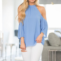 All The Frills Cold Shoulder Blouse Blue