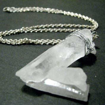 HUGE Raw Quartz Crystal Triple Point Pendant Necklace - Clear Quartz w/ Silver Wire Wrapping