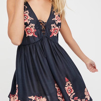 Navy V-Neck Lace Up Front Embroidery Floral Mini Dress