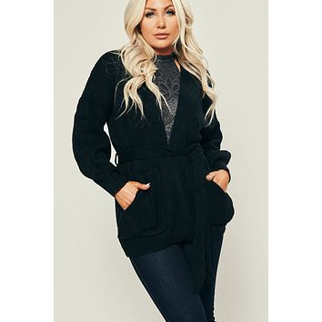 Bad Habits Knitted Cardigan (Black)
