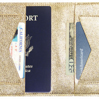 Leather Passport Wallet, Gold, Wallets