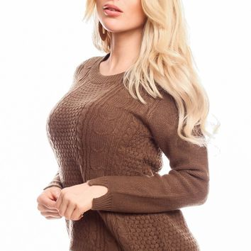 BROWN ROUND NECK LONG-SLEEVE PULL-OVER HIGH-LOW SWEATER