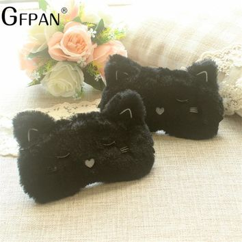 19*10cm Kawaii Eye Mask Black Cat White Smilling Dog Soft Stuffed Plush Toy Sleeping Helper Christmas Gifts For Friend Kids