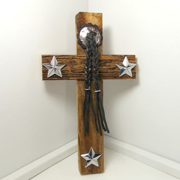 Barnwood Cross, Texas Star, Western Home Decor, Rustic Wall Hanging, Barnwood Art, Gifts Under 40