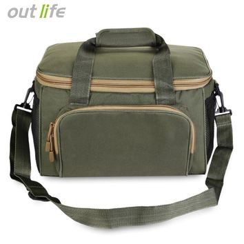 Outlife 37*25*25cm Men Fishing Bag Canvas Outdoor Waist Shoulder Bags Fishing Reel Lure Storage Bag Fishing Tackle Pesca