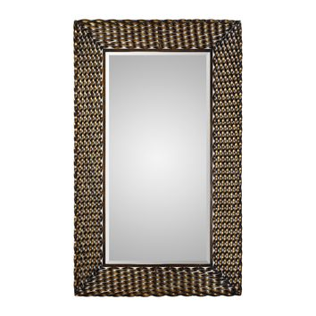 Kurupa Distressed Rustic Bronze Twisted Iron Large Scale Wall Mirror by Uttermost