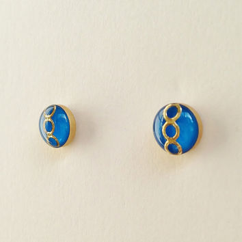 Tiny Blue Stud Earrings, Small Blue Resin Earrings, Royal Blue and Gold Stud Earrings, Hypoallergenic, Resin Jewelry, For Her