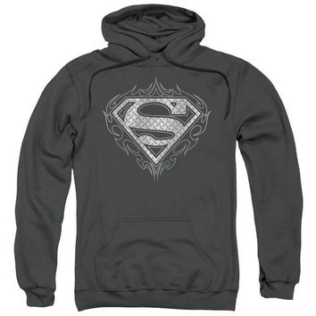 ac NOOW2 Superman - Tribal Steel Logo Adult Pull Over Hoodie
