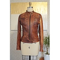 Vintage Whiskey  Leather Moto Jacket