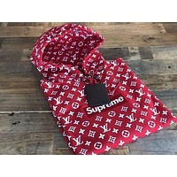 Supreme Louis Vuitton Supreme Red/White Monogram Hoodie