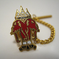 Vintage Tie Tack Gold Tone Red Enameled Erawan Red Three Headed Elephant Laos Flag Lapel Pin